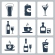 Vector isolated beverages icons set — Stock Vector