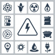 Vector isolated energy icons set — Stock Vector