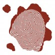 Vector isolated blood fingerprint on white background — Stock Vector