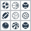 Vector sport balls icons set — Stock Vector