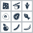Stok Vektör: Vector isolated food icons set