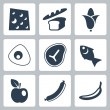 Vector isolated food icons set — Stock Vector