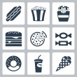 Vector junk food icons set — Stock Vector