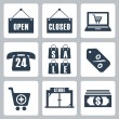 Vector isolated shopping icons set — Stock Vector