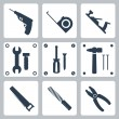 Vector isolated tools icons set — Stock Vector