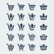 Vector shopping carts icons set — Stock Vector
