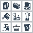 Stok Vektör: Vector kitchen appliances icons set