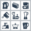 ストックベクタ: Vector kitchen appliances icons set