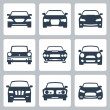 Vector isolated cars icons set — Stock Vector