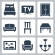 Vector isolated furniture icons set — Stock Vector