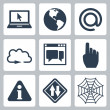 Vector isolated internet-related icons set — Stock Vector