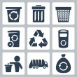 Vector isolated garbage icons set — Stock Vector #34992691