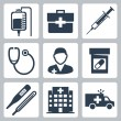 Vector isolated medical icons set — Stock Vector