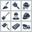 Stock Vector: Vector isolated construction icons set