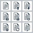 Vector isolated document icons set — Stock Vector