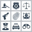 Vector isolated criminal and police icons set — Stock Vector