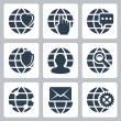 Vector isolated globe icons set — Stock Vector