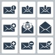 Vector isolated mail icons set — Stock Vector