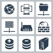 Vector isolated computer network icons set — Stock Vector