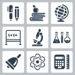 Vector isolated school icons set — Stock Vector