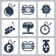 Vector isolated bombs icons set — Grafika wektorowa