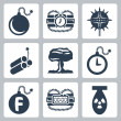 Vector isolated bombs icons set — Stock Vector