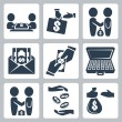 Vector isolated bribe or bargain icons set — Stock Vector