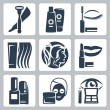 Vector isolated cosmetology icons set — Stock Vector