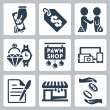 Vector isolated pawnshop icons set — Stock Vector