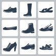 Vector isolated shoes icons set — Stock Vector