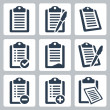 Vector isolated clipboard, checklist icons set — Stock Vector