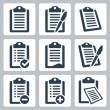 Vector isolated clipboard, checklist icons set — Stock Vector #34993891