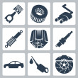 Vector car parts icons set — Stockvectorbeeld
