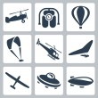 Vector aircrafts icons set: autogyro, jet pack, air baloon, paraglider, helicopter, hang-glider, glider, flying saucer, airship — Stock Vector