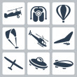 Stock Vector: Vector aircrafts icons set: autogyro, jet pack, air baloon, paraglider, helicopter, hang-glider, glider, flying saucer, airship