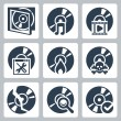 Vector isolated compact disk icons set: case, music, video, soft, search, burning, piracy — Stock Vector