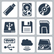 Vector data storage icons set — Stock Vector