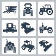 Vector isolated tractor and combine harvester icons — Stock Vector