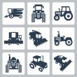 Stock Vector: Vector isolated tractor and combine harvester icons