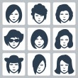 Vector isolated female faces icons set — Stock Vector
