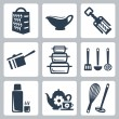 Stock Vector: Vector isolated kitchenware icons set: grater, sauceboat, corkscrew, scoop, bakeware, spatula, ladle, skimmer, thermos, teset, whisk, masher