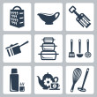 Vector isolated kitchenware icons set: grater, sauceboat, corkscrew, scoop, bakeware, spatula, ladle, skimmer, thermos, tea set, whisk, masher — Stock Vector