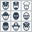 Stock Vector: Vector profession icons set: police officer, captain, chef, ranger, anti-terrorist, robber, surgeon, fireman, pilot