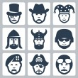 Vector de stock : Vector profession icons set: magician, cowboy, jester, knight, viking, soldier, paratrooper, pirate, pilot