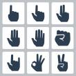 Vector hands icons set: finger counting, stop gesture, fist, devil horns gesture, okay gesture, v sign — Stock Vector #34994459