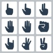Vector hands icons set: finger counting, stop gesture, fist, devil horns gesture, okay gesture, v sign — Stockvectorbeeld