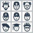 Vector profession icons set: king, doctor, scientist, trucker, repairman, builder, artist, graduating student, cyclist — Stock Vector