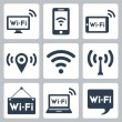 Vector wifi icons set: pc, smartphone, tablet pc, pointer, hotspot, signboard, laptop, speech bubble — Stock Vector