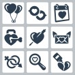 Vector isolated love icons set: baloons, speech bubbles, Valentine's Day, lock, heart and arrow, love letter, gender symbol, search, broken heart — Stock Vector #34994553
