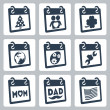 Vector calendar icons representing holidays: Christmas or New Year, Valentine's Day, St. Patrick's Day, Earth Day, Easter, Labor Day, Mother's Day, Father's Day, Independence Day or Flag Day — Vector de stock